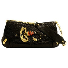 Dolce & Gabbana Black Python Zodiac Collection W/ Scorpion Brooch