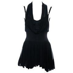 Dolce & Gabbana black rayon corseted mini halter dress