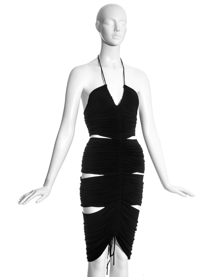 Dolce & Gabbana black rayon ruched halter neck dress with cut-outs, ss 2003 In Excellent Condition For Sale In London, GB