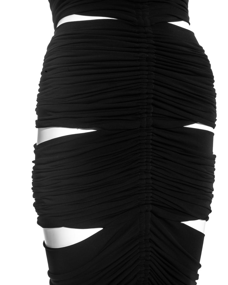 Women's Dolce & Gabbana black rayon ruched halter neck dress with cut-outs, ss 2003 For Sale
