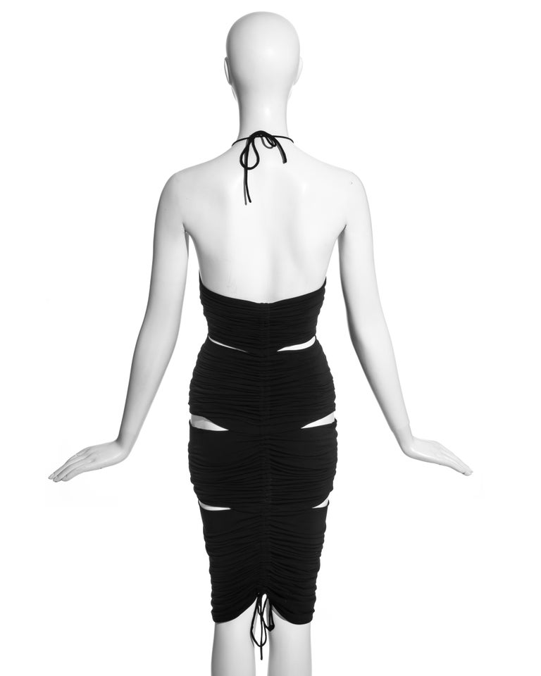 Dolce & Gabbana black rayon ruched halter neck dress with cut-outs, ss 2003 For Sale 2