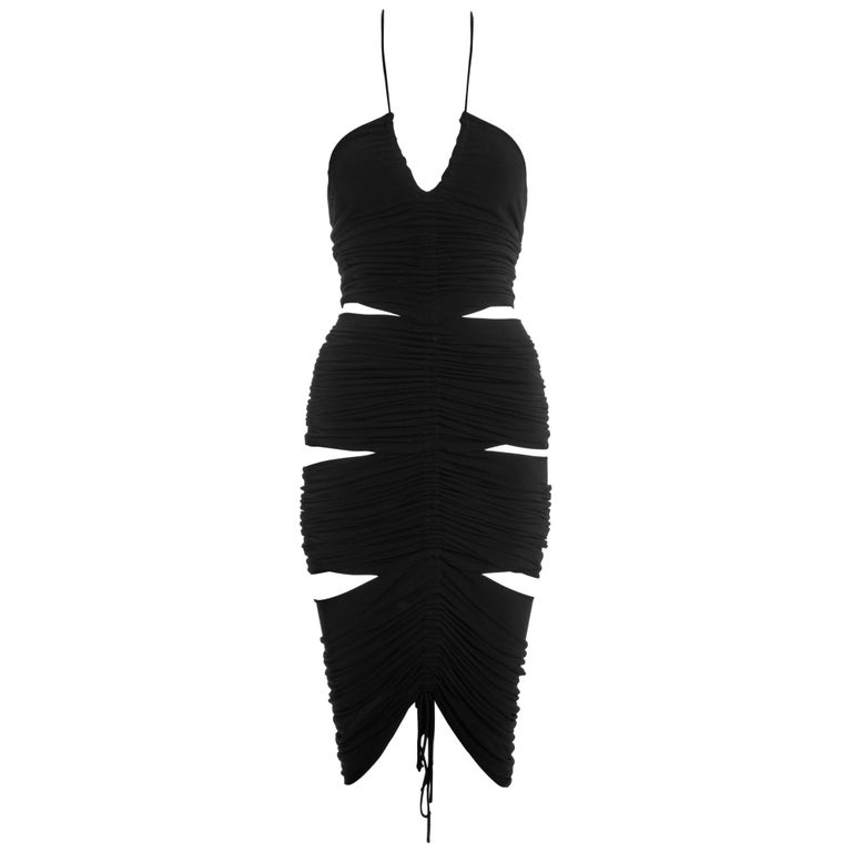 Dolce & Gabbana black rayon ruched halter neck dress with cut-outs, ss 2003 For Sale