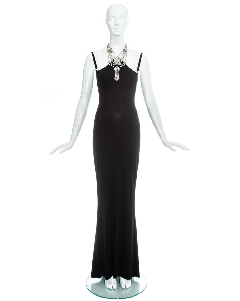Dolce & Gabbana black rayon spandex evening maxi dress with attached silver chandelier choker necklace and built in bra.  Spring-Summer 1998