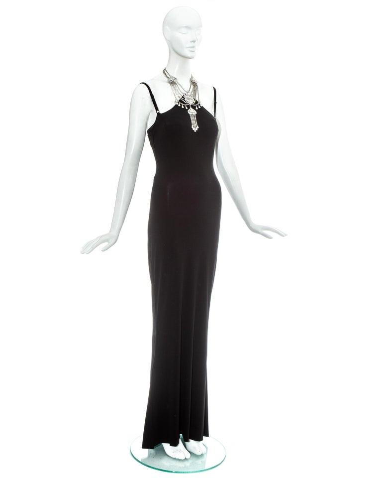 Women's Dolce & Gabbana black rayon spandex maxi dress with choker necklace, ss 1998