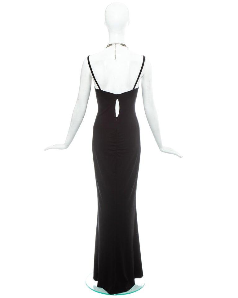 Dolce & Gabbana black rayon spandex maxi dress with choker necklace, ss 1998 2