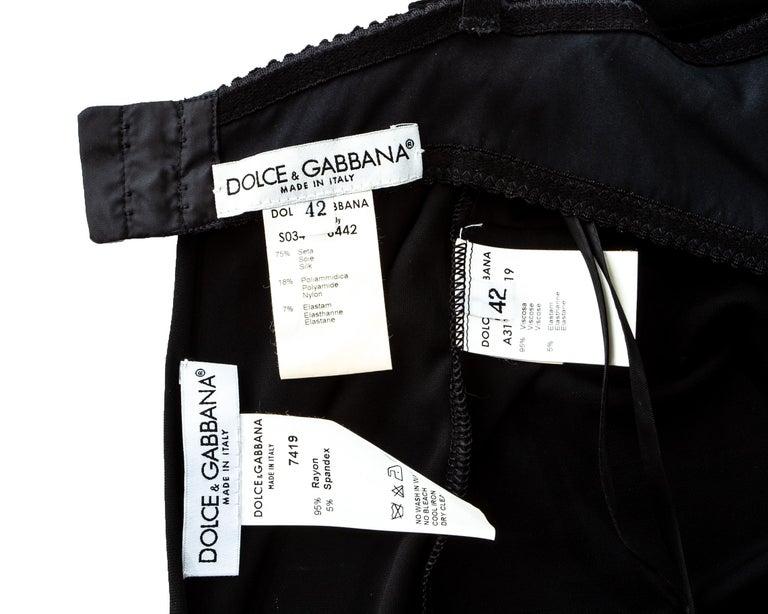 Dolce & Gabbana black rayon spandex maxi dress with choker necklace, ss 1998 4