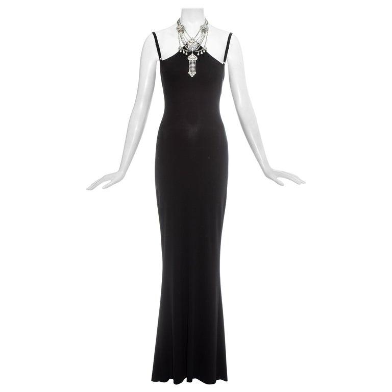 Dolce & Gabbana black rayon spandex maxi dress with choker necklace, ss 1998