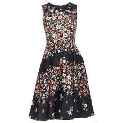 DOLCE GABBANA black red floral print jacquard fit flared cocktail dress IT36 XS