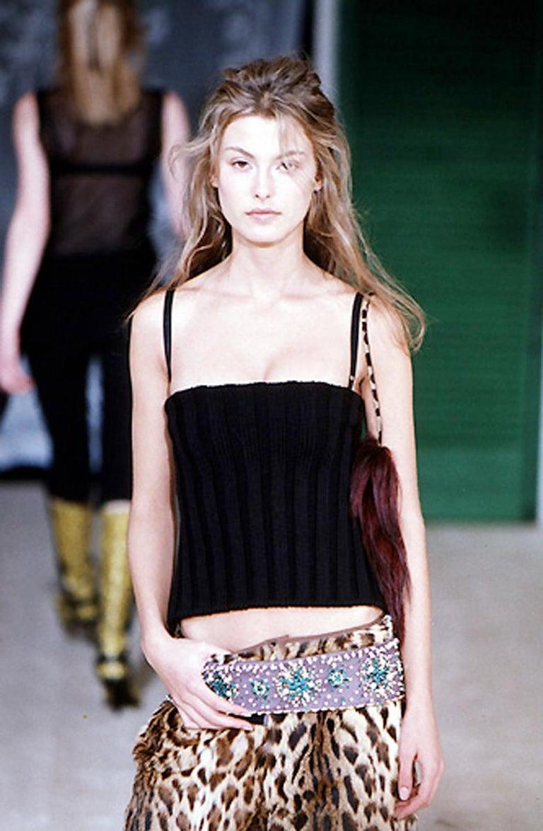 Black Dolce & Gabbana black rib-knit open back corset top, fw 1999 For Sale