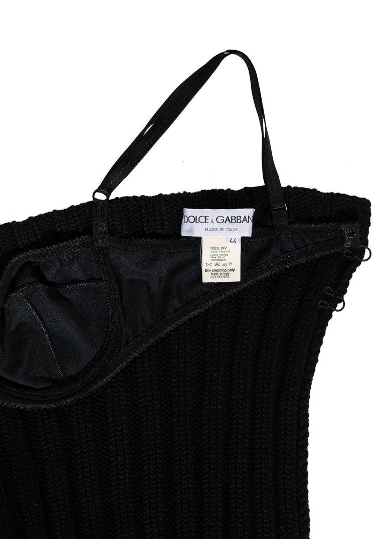 Dolce & Gabbana black rib-knit open back corset top, fw 1999 For Sale 3
