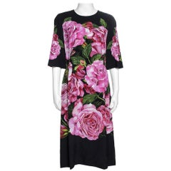 Dolce & Gabbana Black Rose Print Crepe Midi Dress M