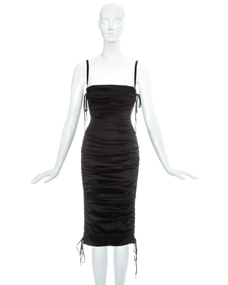Women's Dolce & Gabbana black ruched silk figure hugging lace up dress, ss 2003 For Sale