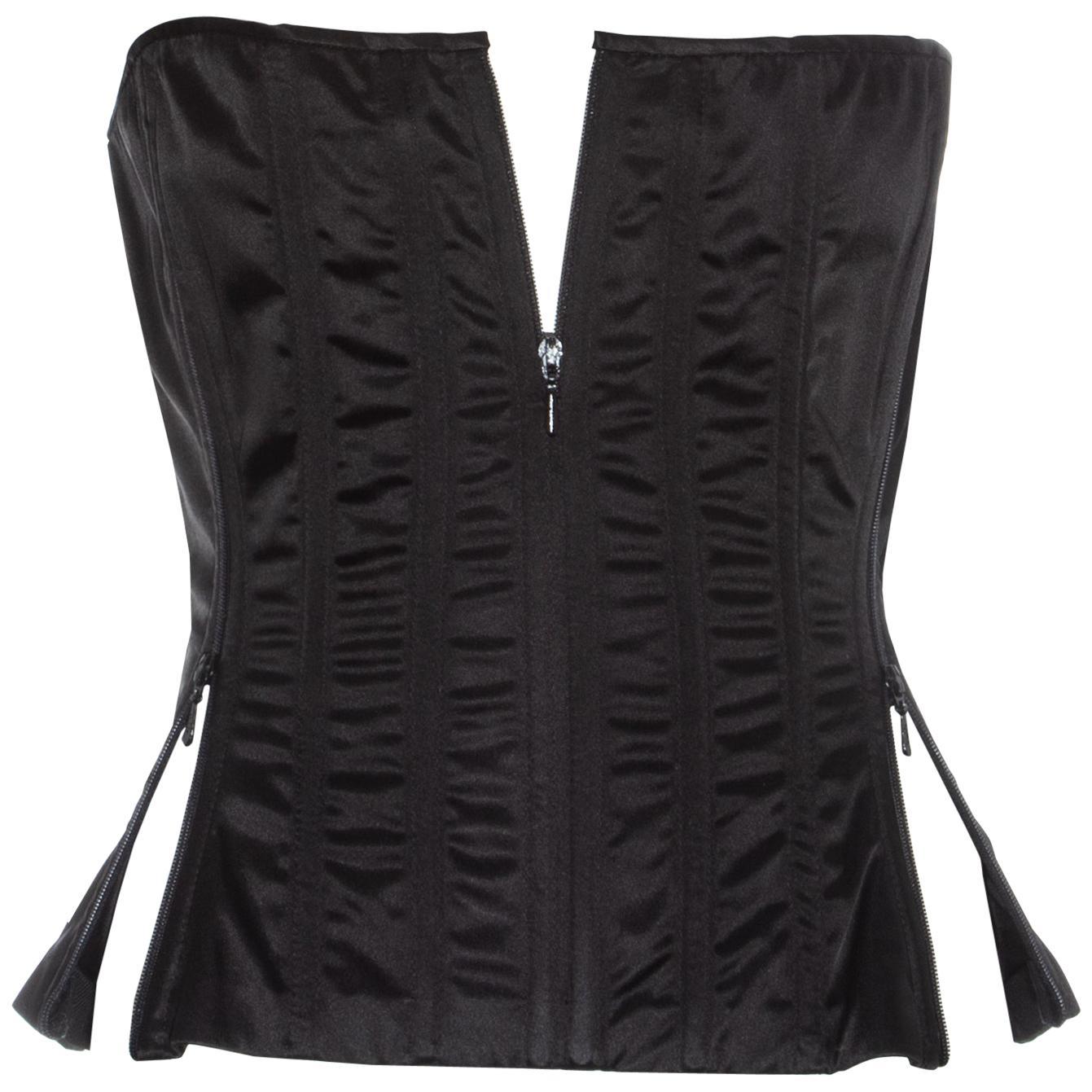 Dolce & Gabbana black satin lycra convertible zipper corset, ss 1999