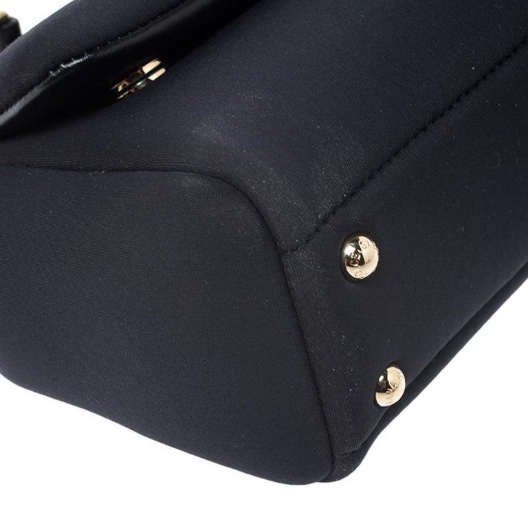 Dolce & Gabbana Black Satin Neoprene Heart Small Miss Sicily Top Handle Bag For Sale 6