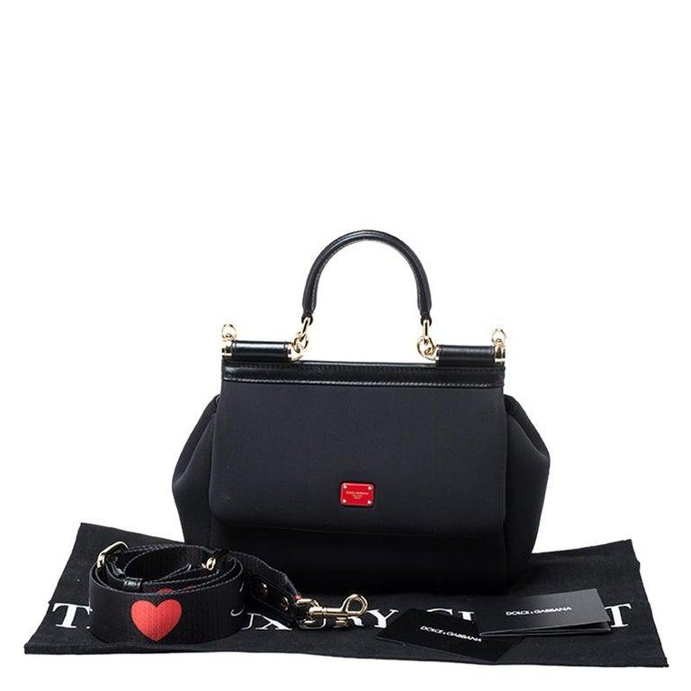 Dolce & Gabbana Black Satin Neoprene Heart Small Miss Sicily Top Handle Bag For Sale 7