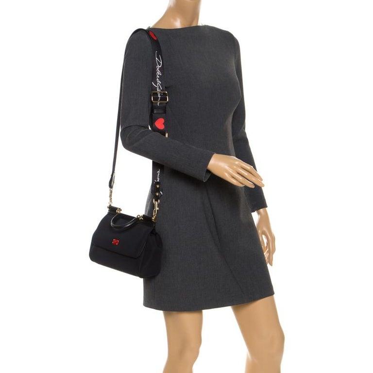 Dolce & Gabbana Black Satin Neoprene Heart Small Miss Sicily Top Handle Bag In New Condition For Sale In Dubai, Al Qouz 2