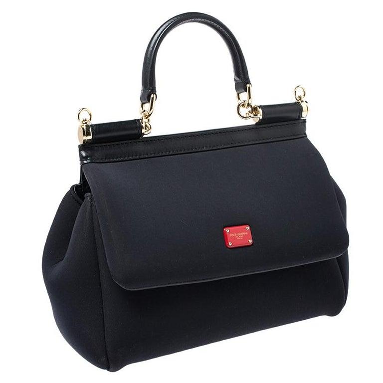 Women's Dolce & Gabbana Black Satin Neoprene Heart Small Miss Sicily Top Handle Bag For Sale
