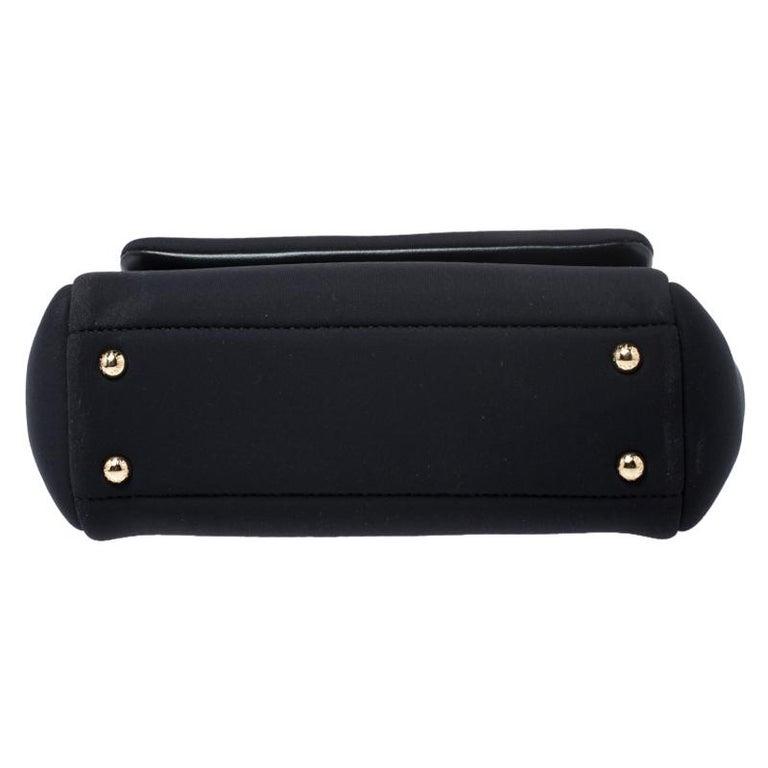 Dolce & Gabbana Black Satin Neoprene Heart Small Miss Sicily Top Handle Bag For Sale 1