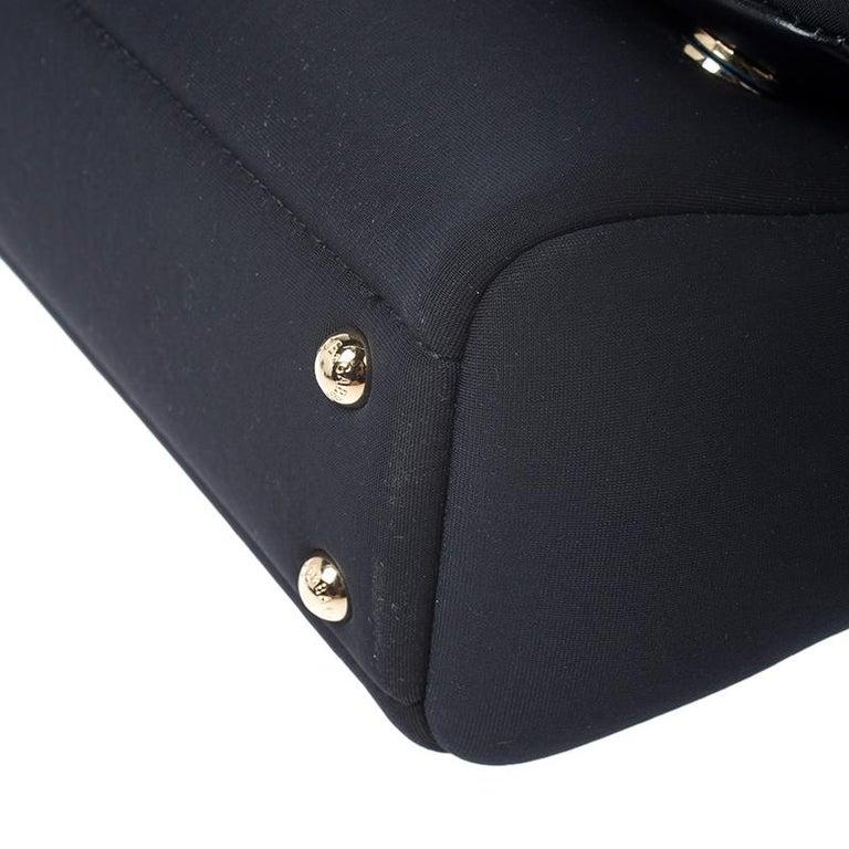Dolce & Gabbana Black Satin Neoprene Heart Small Miss Sicily Top Handle Bag For Sale 5