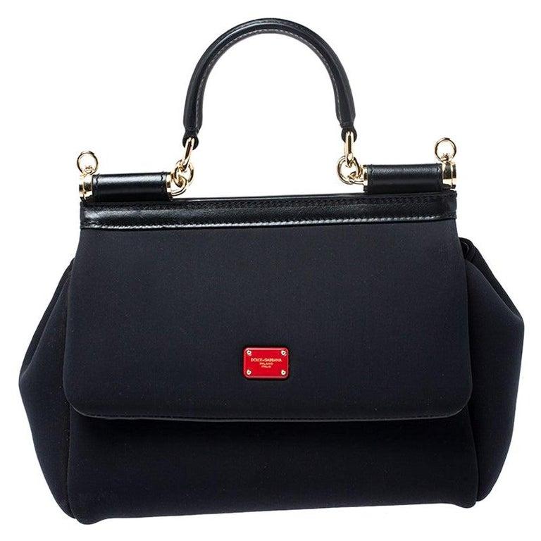 Dolce & Gabbana Black Satin Neoprene Heart Small Miss Sicily Top Handle Bag For Sale