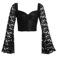 Dolce & Gabbana black satin spandex and lace corset, ss 1993