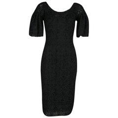 Dolce & Gabbana Black Scalloped Edge Applique Lace Sheath Dress S