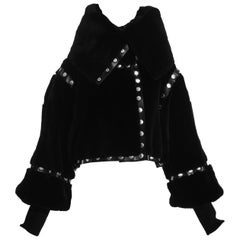 Dolce & Gabbana black sheared fur and leather snap fastening jacket, fw 2003