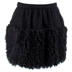 Dolce & Gabbana Black Shearling Trim Skirt - Size US 4