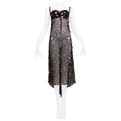 Dolce & Gabbana Black Sheer Floral Slip Dress with Appliques