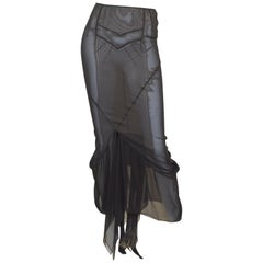 Dolce & Gabbana Black Sheer Silk Maxi Skirt