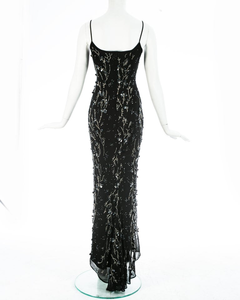 Dolce & Gabbana black silk chiffon embellished evening dress, S/S 1999 In Good Condition For Sale In London, GB