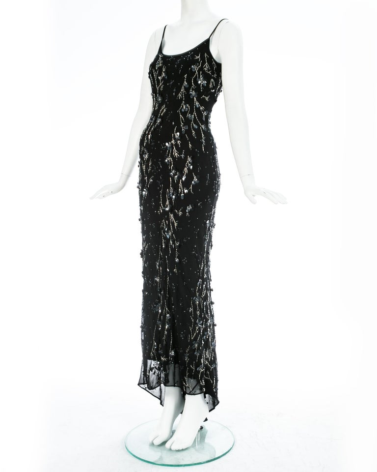 Women's Dolce & Gabbana black silk chiffon embellished evening dress, S/S 1999 For Sale