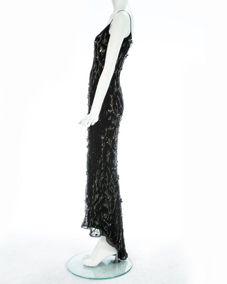 Dolce & Gabbana black silk chiffon embellished evening dress, S/S 1999 For Sale 1