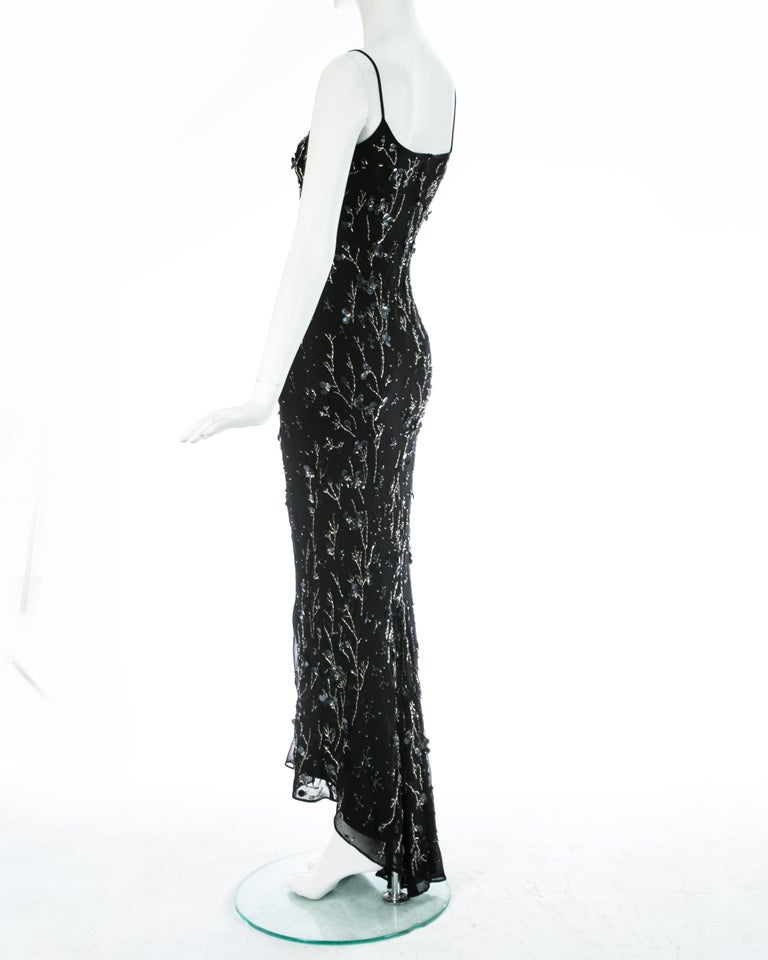 Dolce & Gabbana black silk chiffon embellished evening dress, S/S 1999 For Sale 3