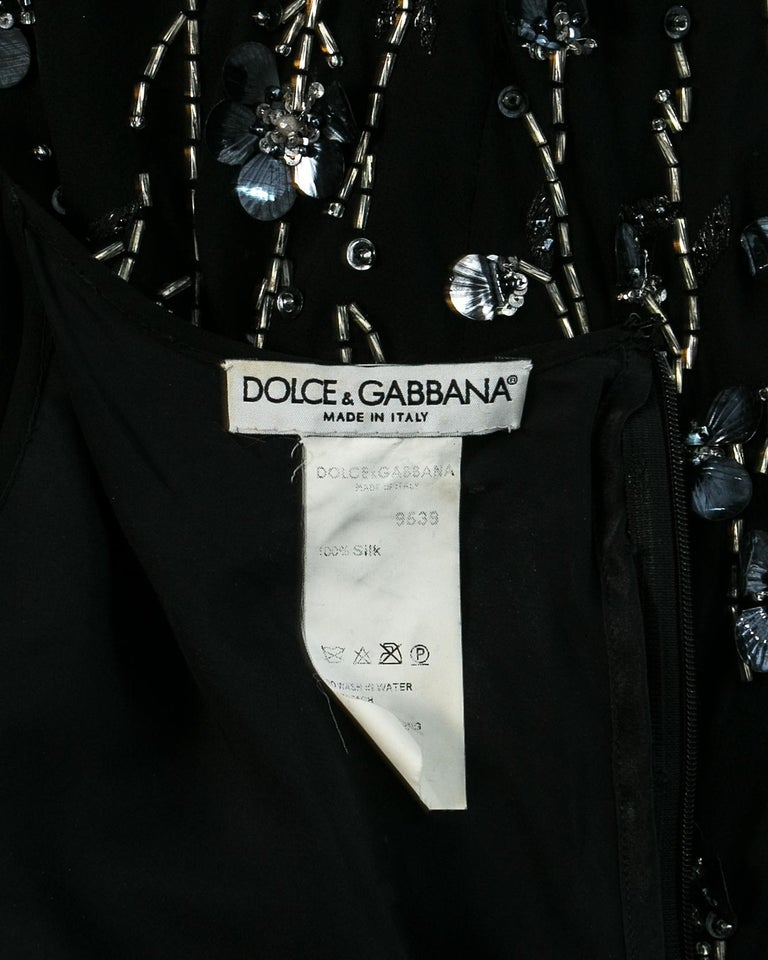 Dolce & Gabbana black silk chiffon embellished evening dress, S/S 1999 For Sale 4