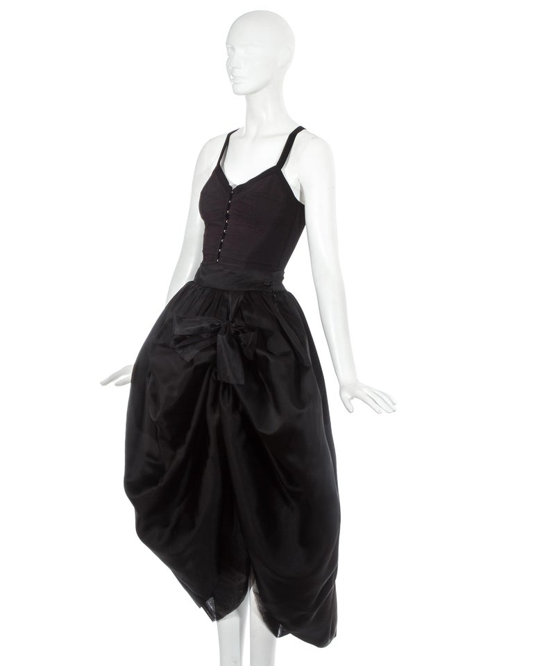 Black Dolce & Gabbana black silk corset and bustle skirt ensemble, fw 1992 For Sale