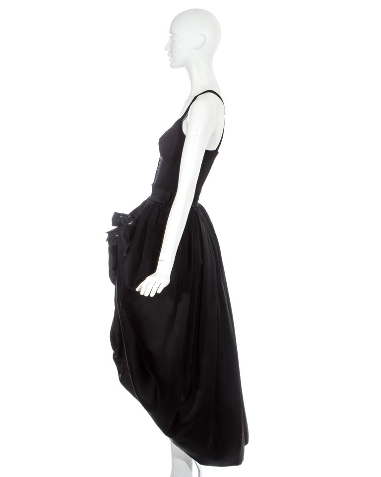 Dolce & Gabbana black silk corset and bustle skirt ensemble, fw 1992 In Good Condition For Sale In London, GB