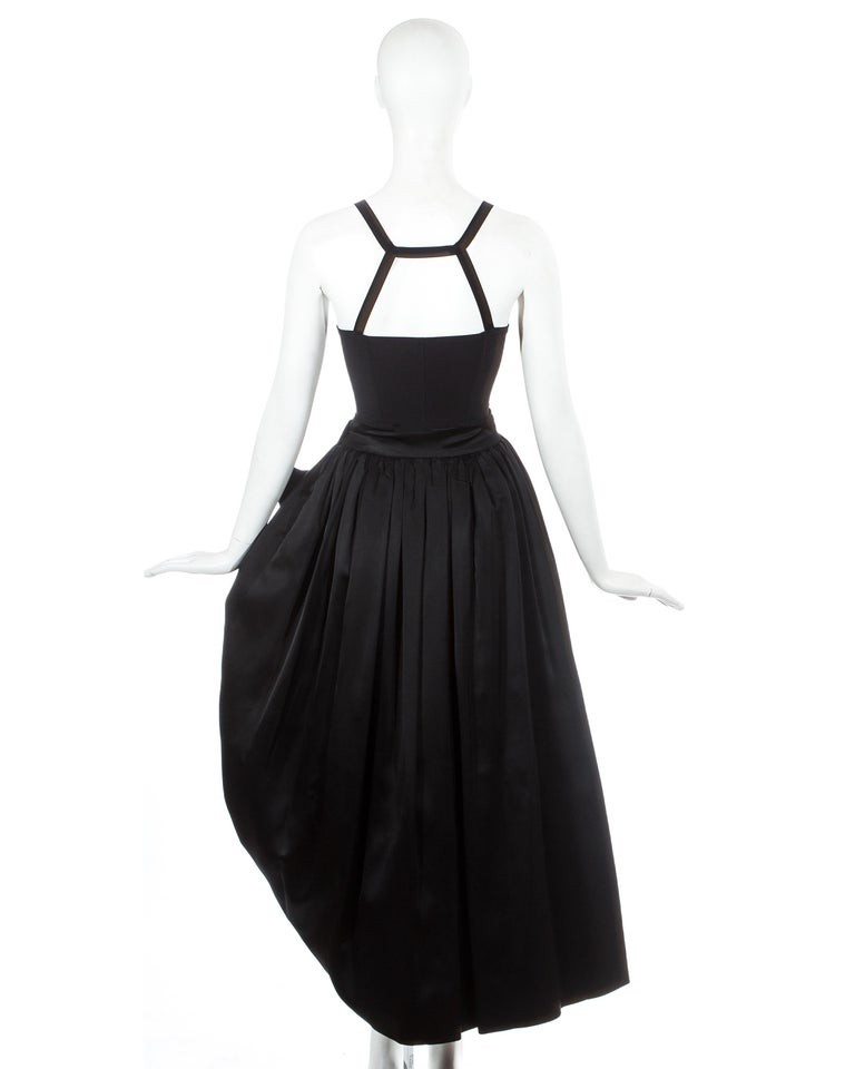 Women's Dolce & Gabbana black silk corset and bustle skirt ensemble, fw 1992 For Sale