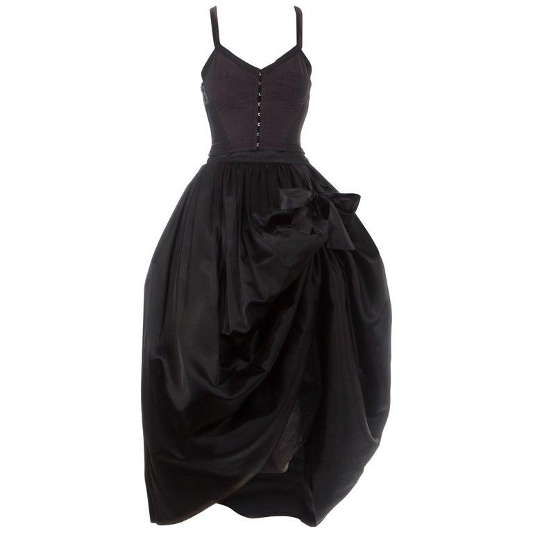 Dolce & Gabbana black silk corset and bustle skirt ensemble, fw 1992 For Sale