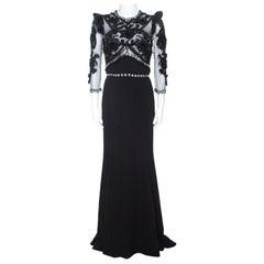Dolce & Gabbana Black Silk Crepe Embellished Gown M