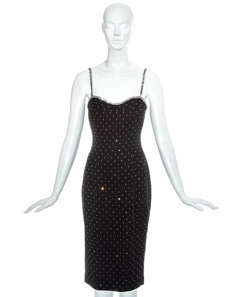 Dolce & Gabbana black silk figure hugging mid-length dress with diamanté embellishments.  Spring-Summer 1995