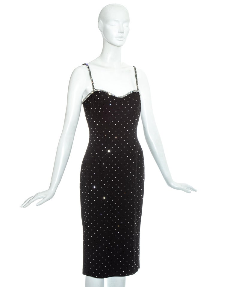 Women's Dolce & Gabbana black silk diamanté figure hugging dress, ss 1995 For Sale