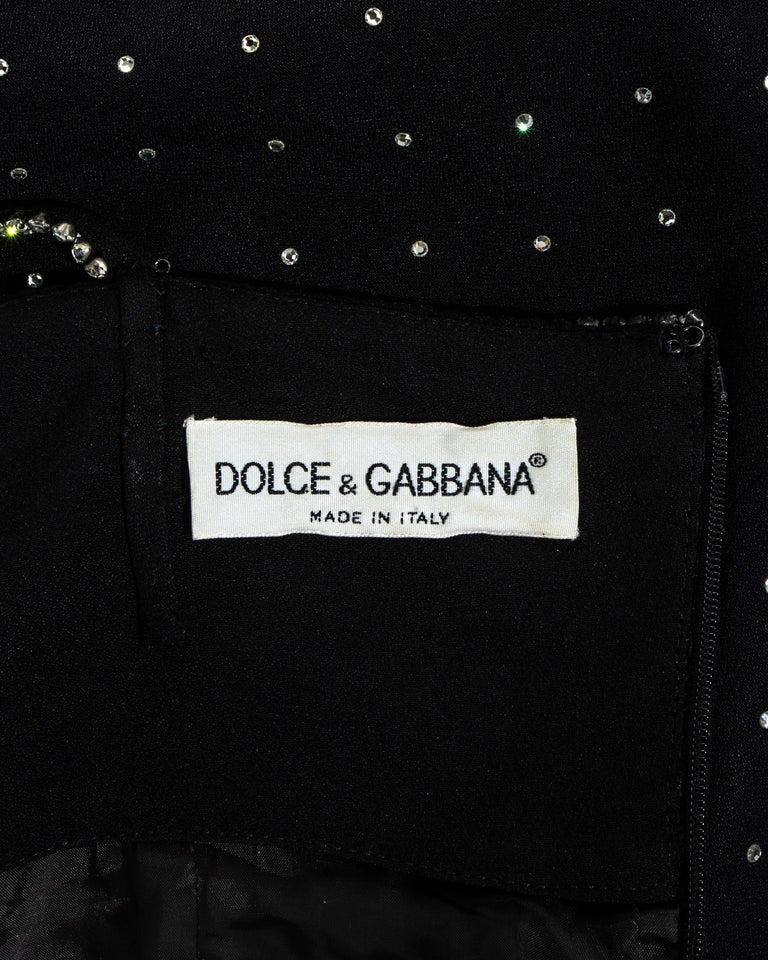 Dolce & Gabbana black silk diamanté figure hugging dress, ss 1995 For Sale 4