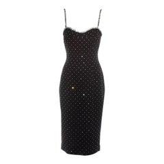 Dolce & Gabbana black silk diamanté figure hugging dress, ss 1995