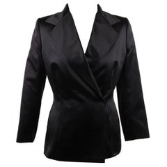 DOLCE & GABBANA Black Silk DOUBLE BREASTED BLAZER Jacket SIZE 40