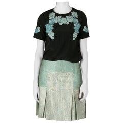 Dolce & Gabbana Black Silk Lace Applique Detail Short Sleeve Blouse S