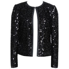 Dolce & Gabbana Black Silk Lined Sequined Jacket M