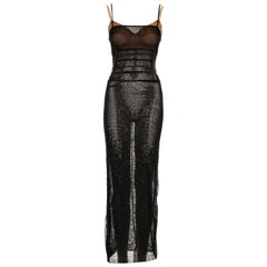 Dolce & Gabbana black silk nylon mesh corseted evening dress, ss 1998