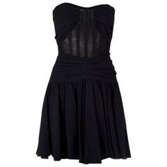 DOLCE & GABBANA black silk PLEATED BUSTIER Cocktail Dress 42
