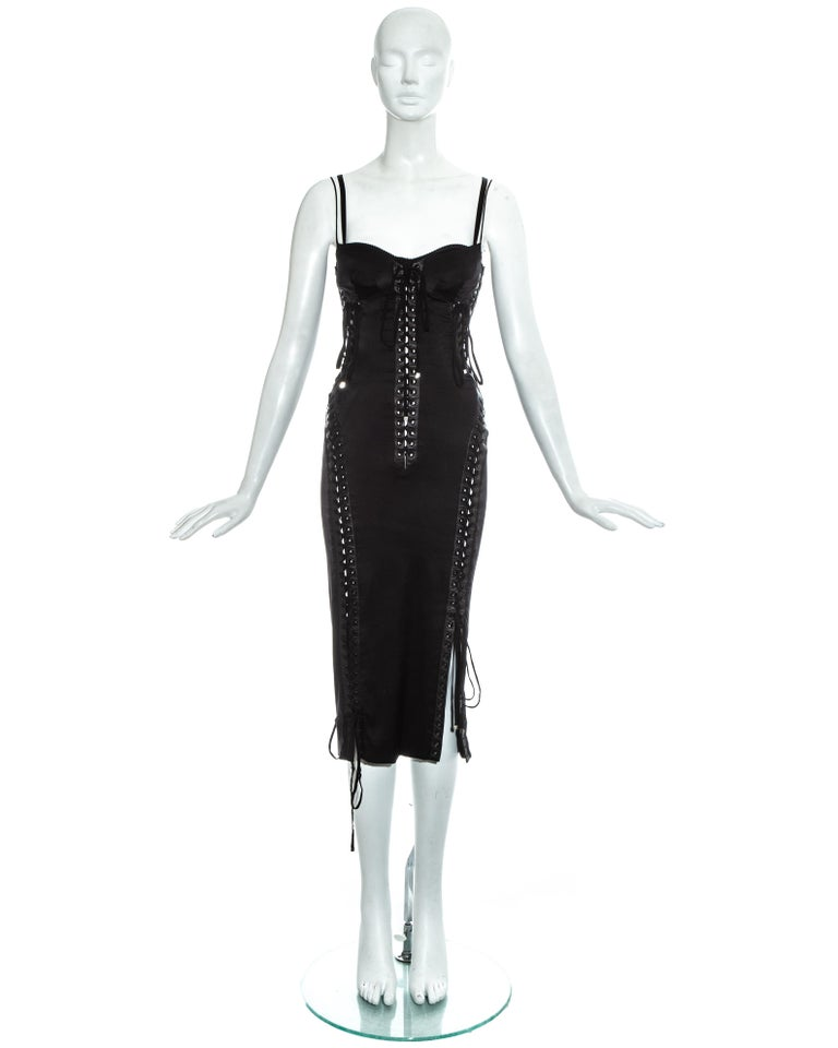 Dolce & Gabbana black silk spandex corseted evening dress with built in satin bra, lambskin leather trim and lace up fastenings throughout.  Spring-Summer 2003